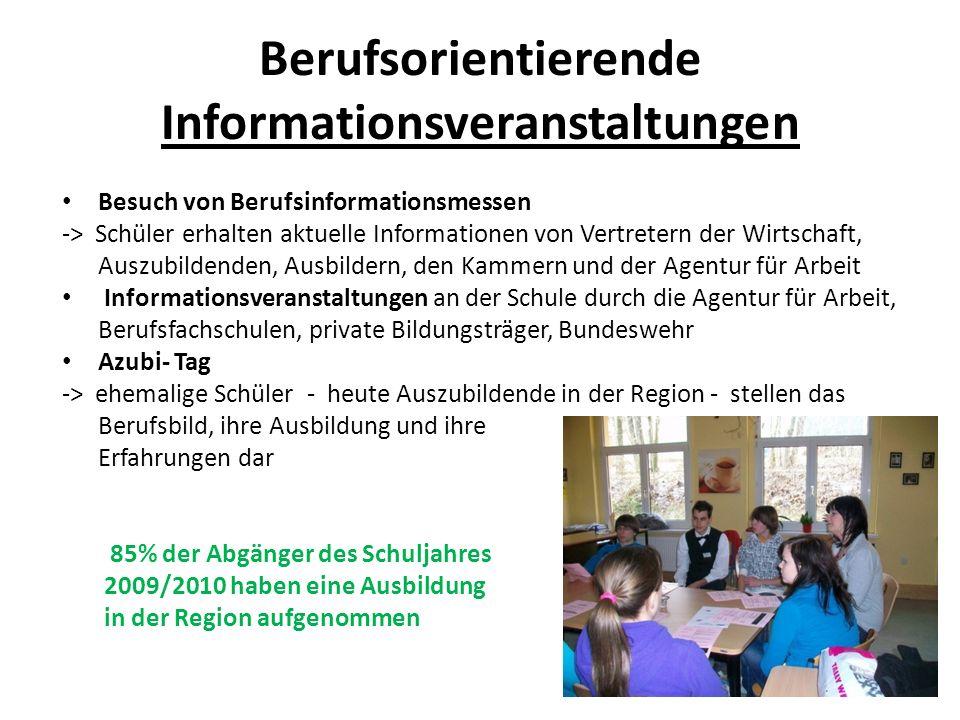 Berufsorientierende Informationsveranstaltungen Besuch von Berufsinformationsmessen -> Schüler erhalten aktuelle Informationen von Vertretern der Wirt