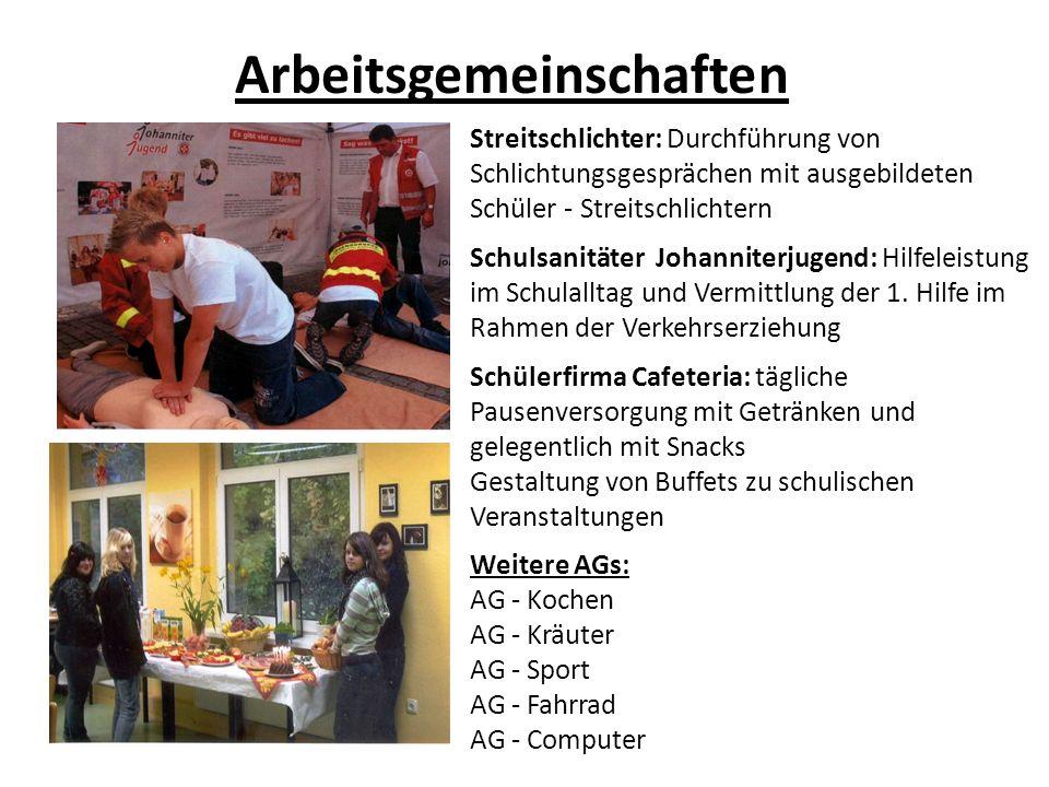 Arbeitsgemeinschaften Streitschlichter: Durchführung von Schlichtungsgesprächen mit ausgebildeten Schüler - Streitschlichtern Schulsanitäter Johannite