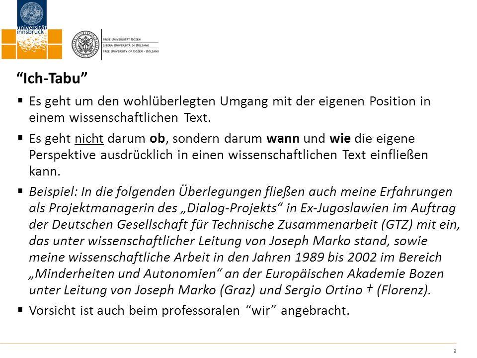 24 Literatur: Gruber, Helmut/Huemer, Birgit/Rheindorf, Markus (2009): Wissenschaftliches Schreiben.