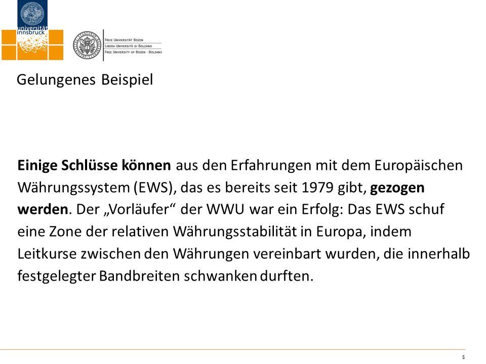 5 Gelungenes Beispiel Einige Schlüsse können aus den Erfahrungen mit dem Europäischen Währungssystem (EWS), das es bereits seit 1979 gibt, gezogen wer
