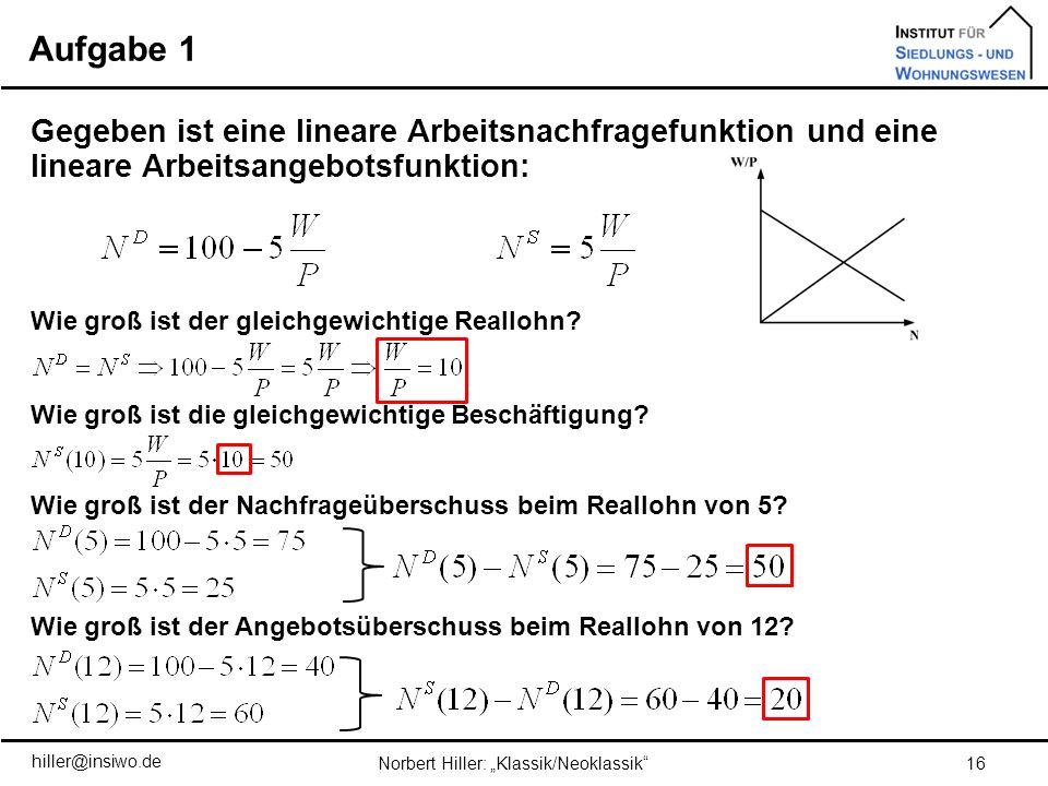 Aufgabe 1 16Norbert Hiller: Klassik/Neoklassik Gegeben ist eine lineare Arbeitsnachfragefunktion und eine lineare Arbeitsangebotsfunktion: Wie groß is