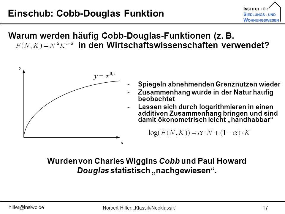 Einschub: Cobb-Douglas Funktion 17Norbert Hiller: Klassik/Neoklassik Warum werden häufig Cobb-Douglas-Funktionen (z. B. F(N,K)=Nα·K1-α) in den Wirtsch