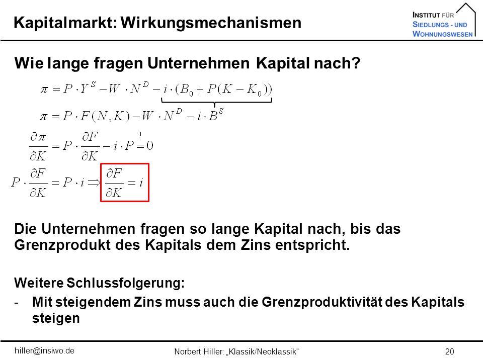 Kapitalmarkt: Wirkungsmechanismen 20Norbert Hiller: Klassik/Neoklassik Wie lange fragen Unternehmen Kapital nach? Die Unternehmen fragen so lange Kapi