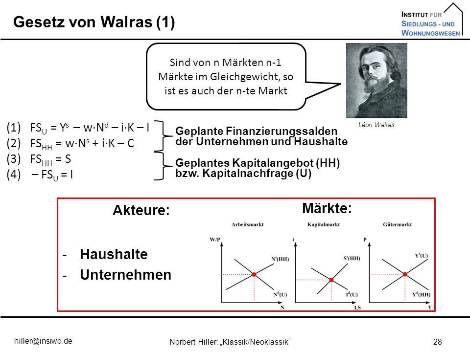 Gesetz von Walras (1) 28Norbert Hiller: Klassik/Neoklassik Sind von n Märkten n-1 Märkte im Gleichgewicht, so ist es auch der n-te Markt Léon Walras (