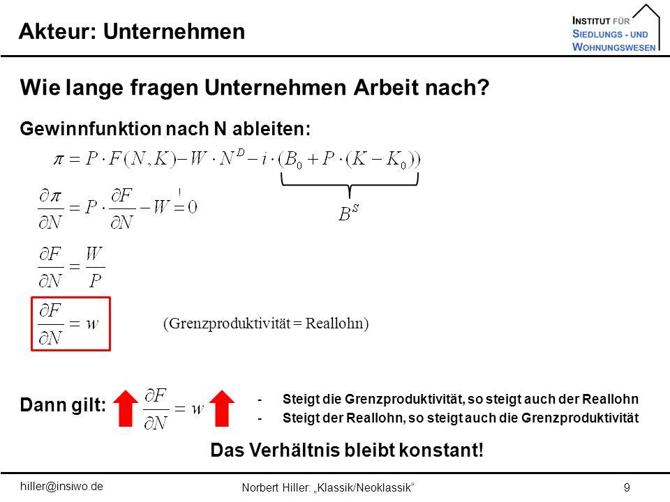 Aufgabe 8 40Norbert Hiller: Klassik/Neoklassik hiller@insiwo.de Lohnerhöhung(en) W und anschließender Reallohnfixierung (Quantitätsgleichung) (Produktionsfunktion) (Lohnerhöhung führt zu einer Reduzierung der Beschäftigung) Überangebot Arbeit