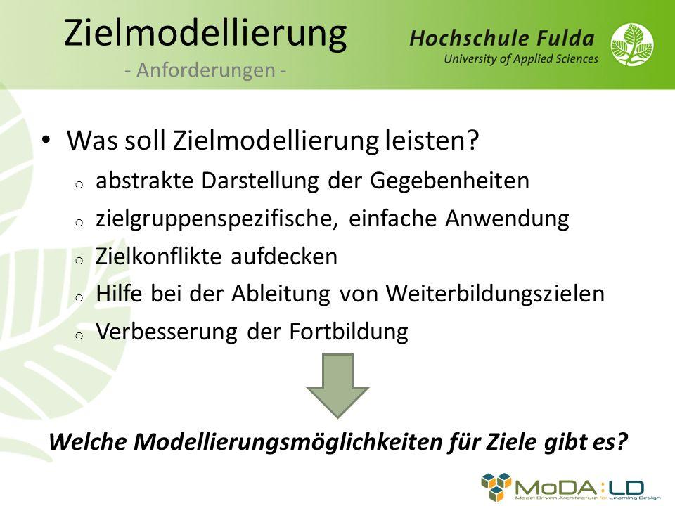 Zielmodellierung - Anforderungen - Was soll Zielmodellierung leisten? o abstrakte Darstellung der Gegebenheiten o zielgruppenspezifische, einfache Anw