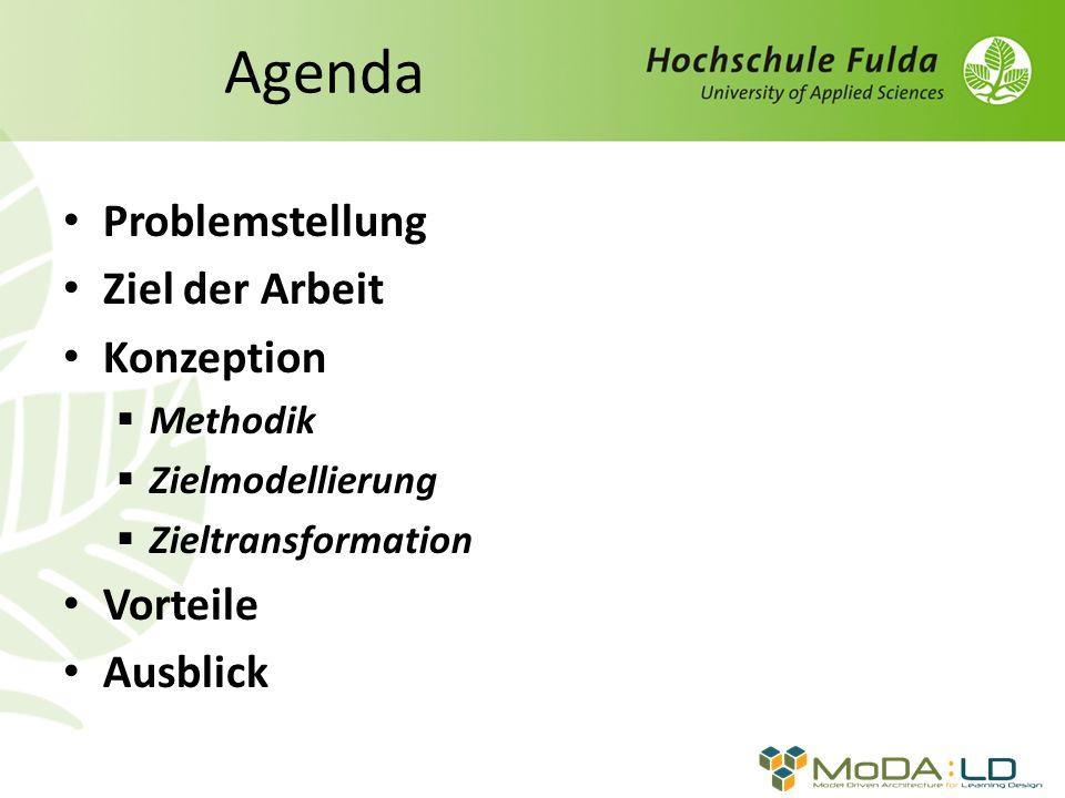 Agenda Problemstellung Ziel der Arbeit Konzeption Methodik Zielmodellierung Zieltransformation Vorteile Ausblick