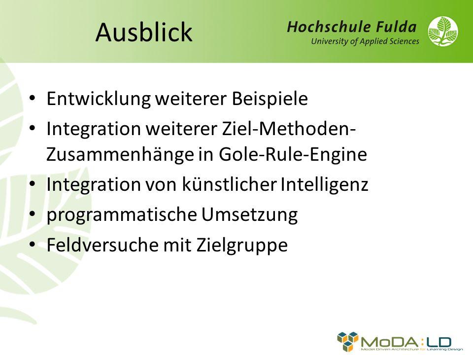 Entwicklung weiterer Beispiele Integration weiterer Ziel-Methoden- Zusammenhänge in Gole-Rule-Engine Integration von künstlicher Intelligenz programma