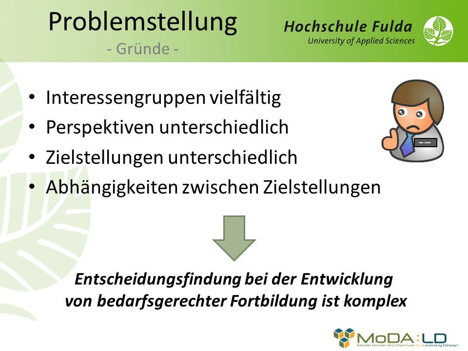 Zielmodellierung - Herausforderungen i * - Startpunkt der Modellinterpretation unklar Unübersichtlichkeit Detaillierungsgrad richtige Zielformulierung Komplexität von Zielmodellen Beispiel i *-Modell [Horkoff, 2010 ] i * Framework [Pohl, 2007]