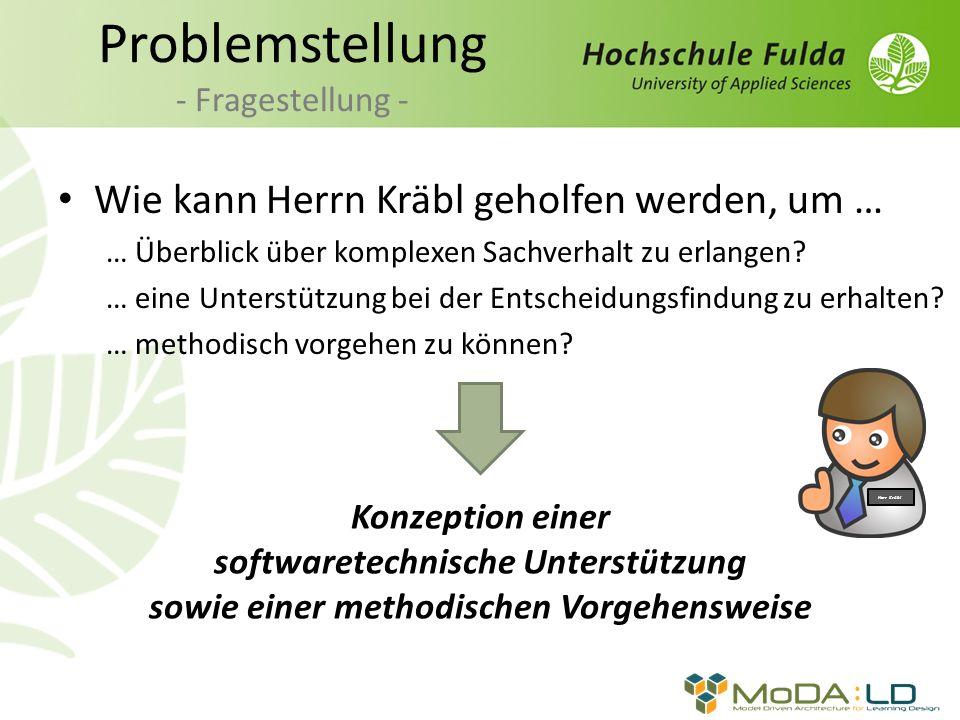 Problemstellung - Fragestellung - Wie kann Herrn Kräbl geholfen werden, um … … Überblick über komplexen Sachverhalt zu erlangen? … eine Unterstützung