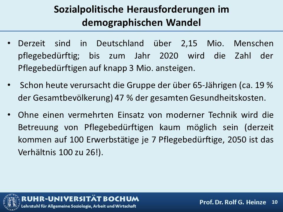 RUHR-UNIVERSITÄT BOCHUM Lehrstuhl für Allgemeine Soziologie, Arbeit und Wirtschaft Sozialpolitische Herausforderungen im demographischen Wandel Derzei