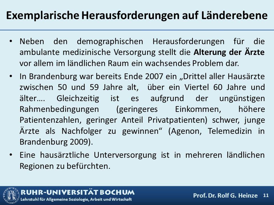 RUHR-UNIVERSITÄT BOCHUM Lehrstuhl für Allgemeine Soziologie, Arbeit und Wirtschaft Exemplarische Herausforderungen auf Länderebene Neben den demograph