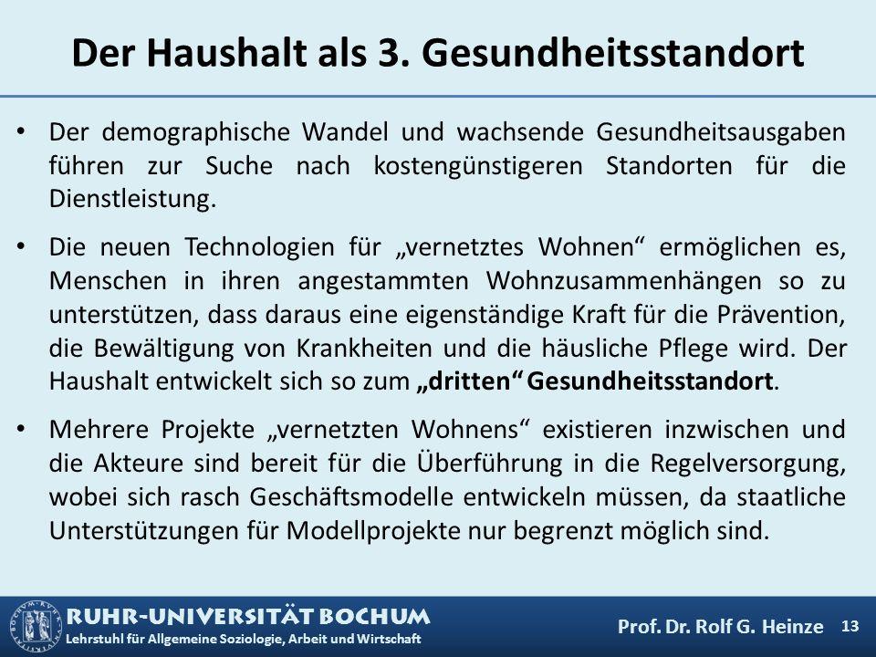RUHR-UNIVERSITÄT BOCHUM Lehrstuhl für Allgemeine Soziologie, Arbeit und Wirtschaft Der Haushalt als 3. Gesundheitsstandort Der demographische Wandel u