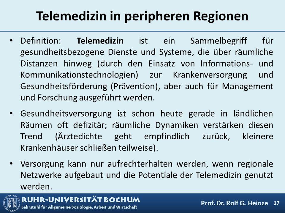 RUHR-UNIVERSITÄT BOCHUM Lehrstuhl für Allgemeine Soziologie, Arbeit und Wirtschaft Telemedizinische Versorgungsstrukturen mit den vier Akteuren 18 Hausarzt Fachärzte (u.a.