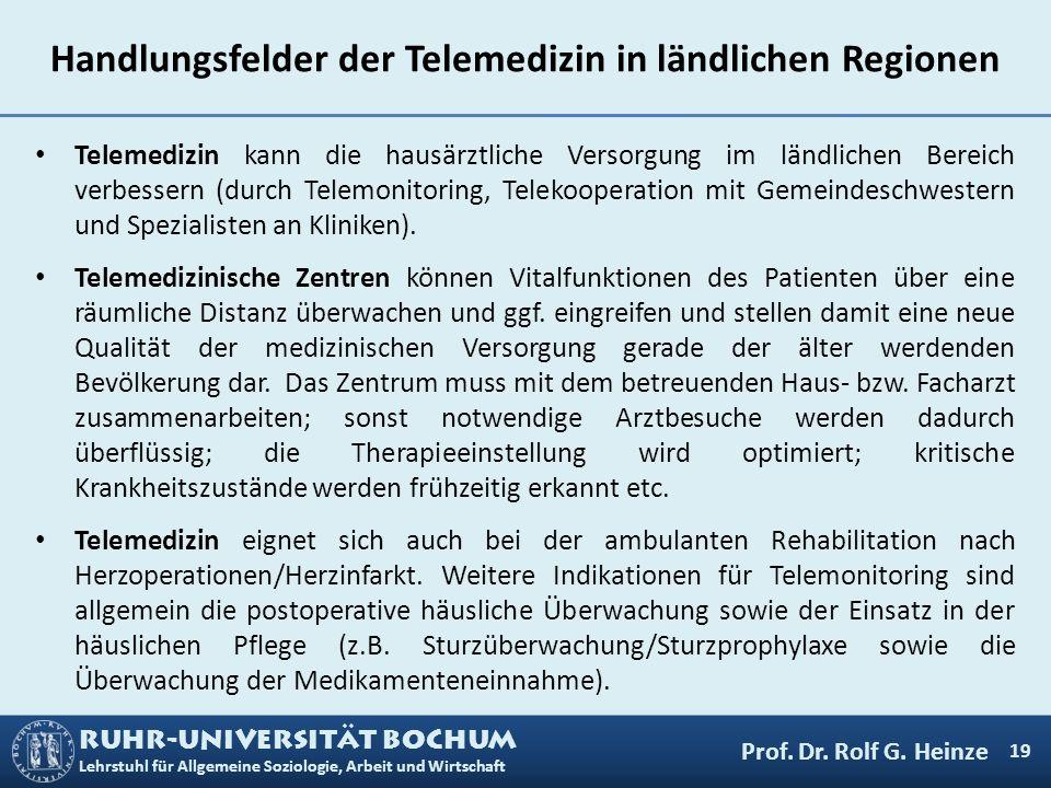 RUHR-UNIVERSITÄT BOCHUM Lehrstuhl für Allgemeine Soziologie, Arbeit und Wirtschaft Handlungsfelder der Telemedizin in ländlichen Regionen Telemedizin