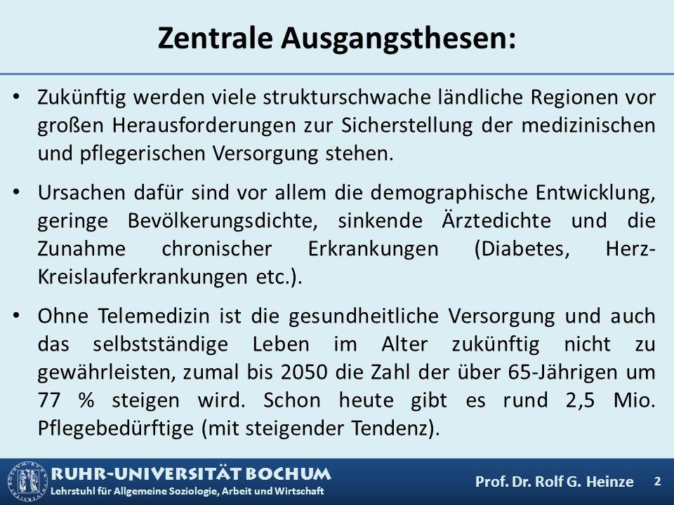 RUHR-UNIVERSITÄT BOCHUM Lehrstuhl für Allgemeine Soziologie, Arbeit und Wirtschaft Zentrale Ausgangsthesen: Zukünftig werden viele strukturschwache lä