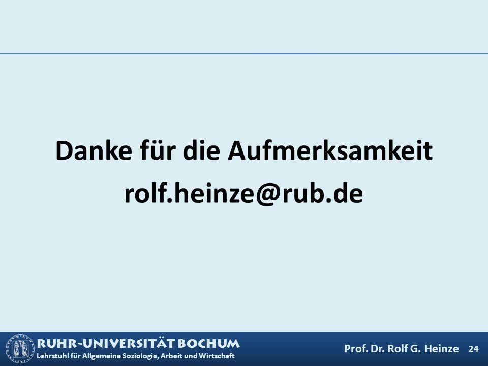RUHR-UNIVERSITÄT BOCHUM Lehrstuhl für Allgemeine Soziologie, Arbeit und Wirtschaft Danke für die Aufmerksamkeit rolf.heinze@rub.de 24 Prof. Dr. Rolf G