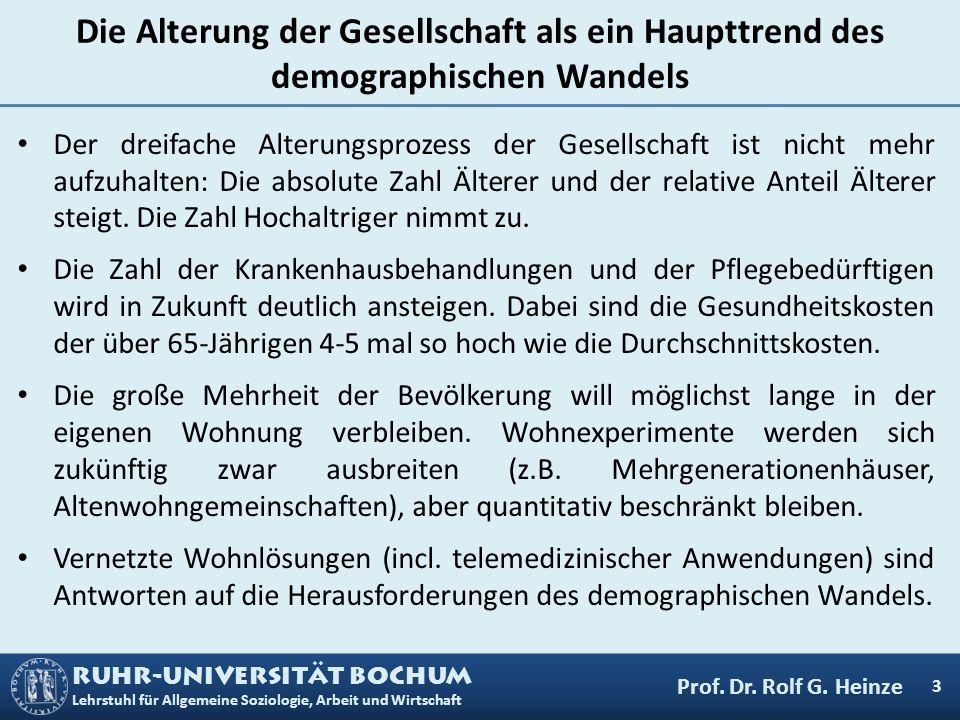 RUHR-UNIVERSITÄT BOCHUM Lehrstuhl für Allgemeine Soziologie, Arbeit und Wirtschaft Die Alterung der Gesellschaft als ein Haupttrend des demographische