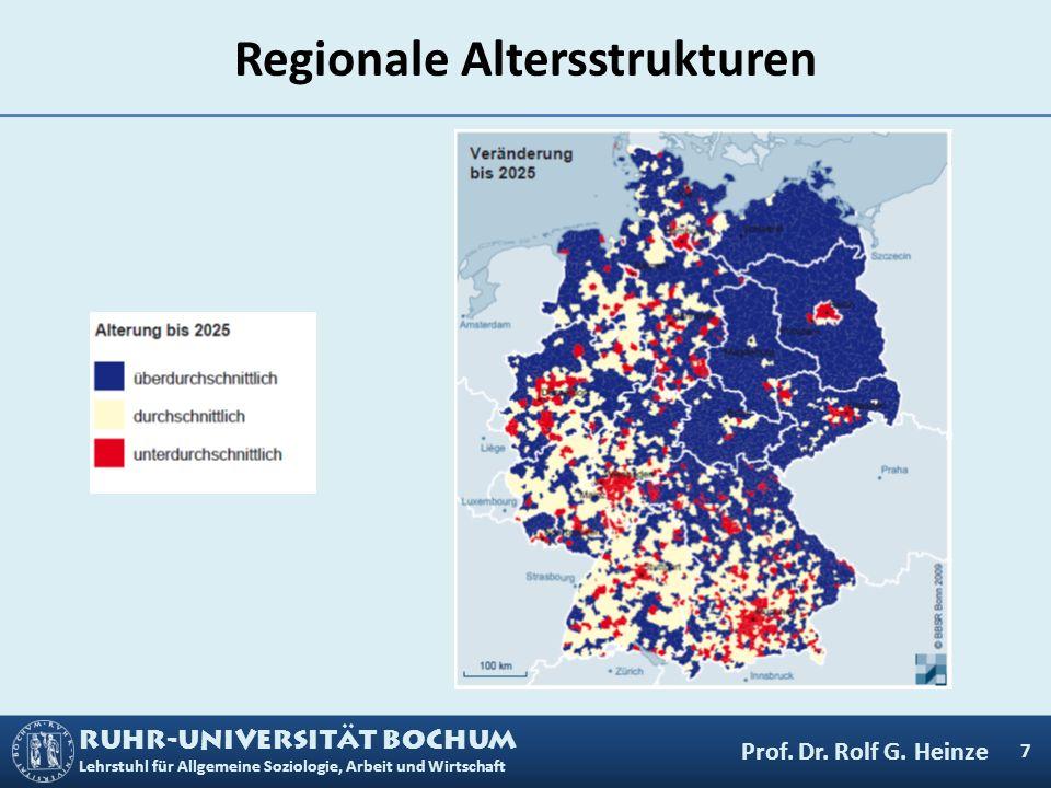RUHR-UNIVERSITÄT BOCHUM Lehrstuhl für Allgemeine Soziologie, Arbeit und Wirtschaft Regionale Altersstrukturen 7 Prof. Dr. Rolf G. Heinze