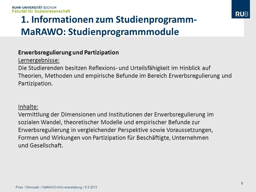 8 1. Informationen zum Studienprogramm- MaRAWO: Studienprogrammmodule Fakultät für Sozialwissenschaft Pries / Shinozaki | MaRAWO-Infoveranstaltung | 8