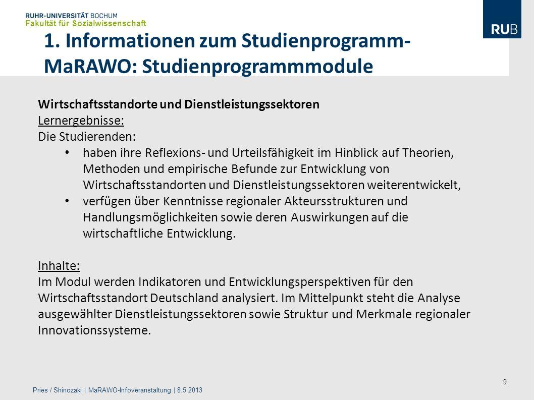 9 1. Informationen zum Studienprogramm- MaRAWO: Studienprogrammmodule Fakultät für Sozialwissenschaft Pries / Shinozaki | MaRAWO-Infoveranstaltung | 8