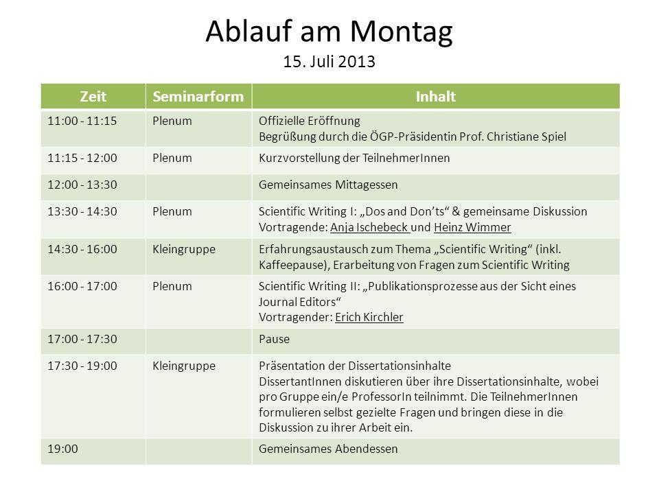 Ablauf am Montag 15. Juli 2013 ZeitSeminarformInhalt 11:00 - 11:15PlenumOffizielle Eröffnung Begrüßung durch die ÖGP-Präsidentin Prof. Christiane Spie