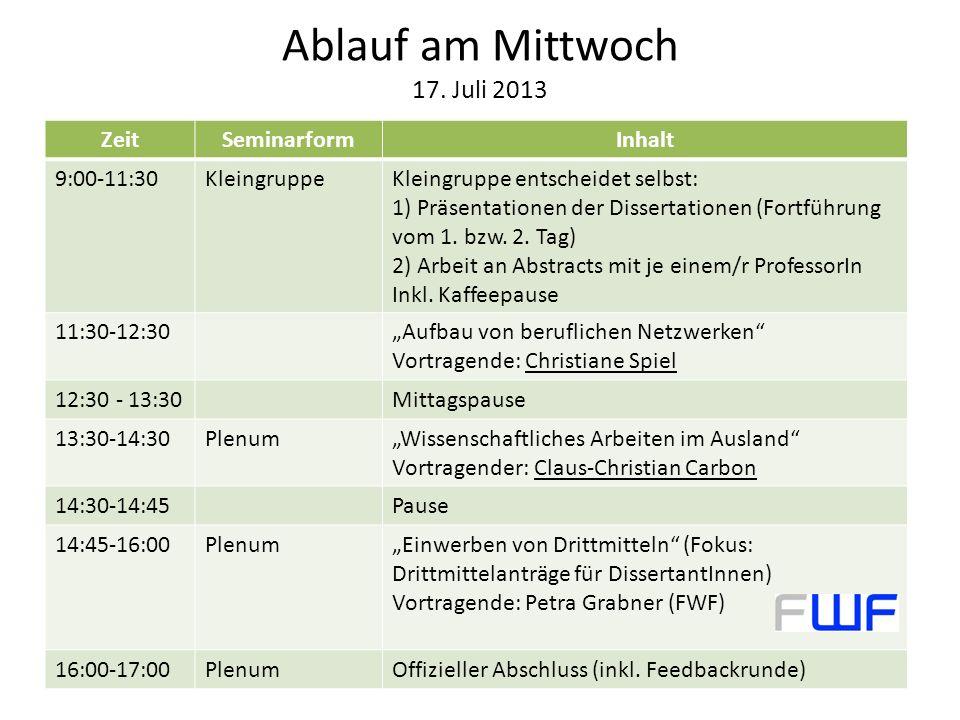 Ablauf am Mittwoch 17. Juli 2013 ZeitSeminarformInhalt 9:00-11:30KleingruppeKleingruppe entscheidet selbst: 1) Präsentationen der Dissertationen (Fort