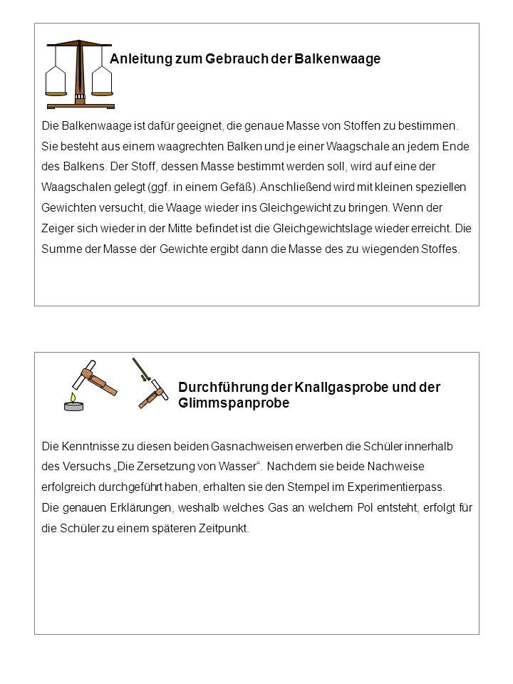 Anleitung zum Gebrauch der Balkenwaage Die Balkenwaage ist dafür geeignet, die genaue Masse von Stoffen zu bestimmen. Sie besteht aus einem waagrechte