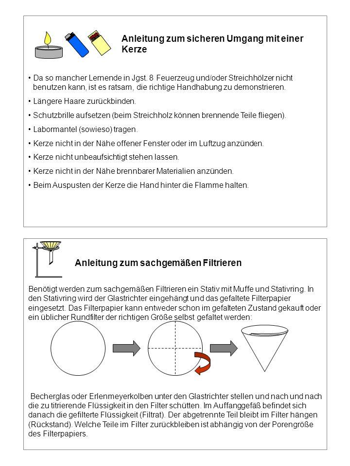 Anleitung zum sicheren Umgang mit einer Kerze Da so mancher Lernende in Jgst. 8 Feuerzeug und/oder Streichhölzer nicht benutzen kann, ist es ratsam, d