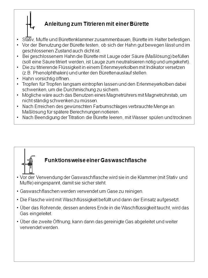 Anleitung zum Titrieren mit einer Bürette Stativ, Muffe und Bürettenklammer zusammenbauen, Bürette im Halter befestigen. Vor der Benutzung der Bürette