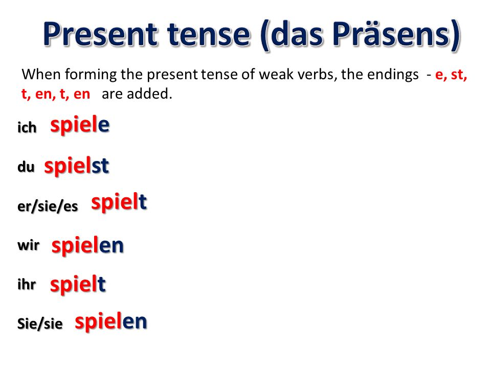 If the root of the verb ends in a t, d, z or s then an extra e must be added in the 2 nd, 3 rd person singular and the plural you before the endings - e, st, t, en, t, en are added.