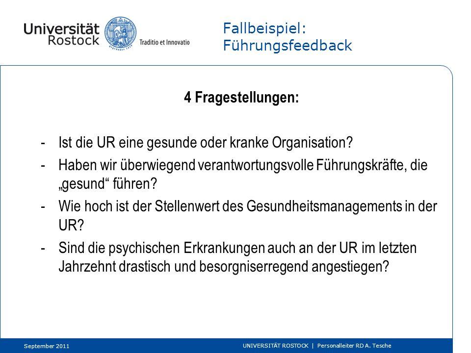 Fallbeispiel: Führungsfeedback 4 Fragestellungen: -Ist die UR eine gesunde oder kranke Organisation? -Haben wir überwiegend verantwortungsvolle Führun