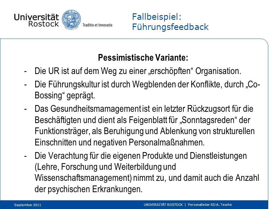 Fallbeispiel: Führungsfeedback Optimistische Variante: -Die UR ist auf dem anspruchsvollen Weg zu einer gesunden Organisation.