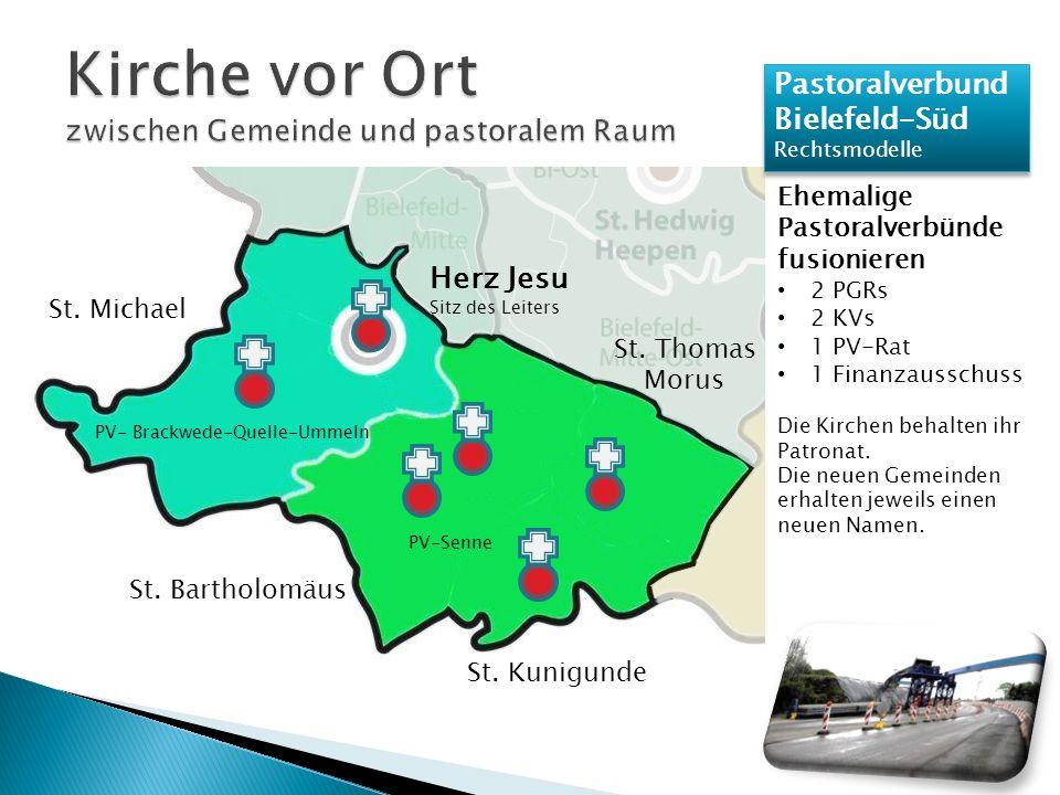 Pastoralverbund Bielefeld-Süd Rechtsmodelle Pastoralverbund Bielefeld-Süd Rechtsmodelle Ehemalige Pastoralverbünde fusionieren 2 PGRs 2 KVs 1 PV-Rat 1 Finanzausschuss Die Kirchen behalten ihr Patronat.