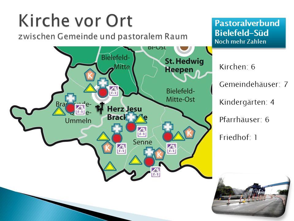 Pastoralverbund Bielefeld-Süd Noch mehr Zahlen Pastoralverbund Bielefeld-Süd Noch mehr Zahlen Kirchen: 6 Gemeindehäuser: 7 Kindergärten: 4 Pfarrhäuser: 6 Friedhof: 1 K K K K