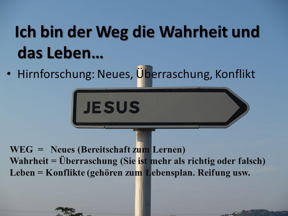 Ich bin der Weg die Wahrheit und das Leben… Ich bin der Weg die Wahrheit und das Leben… Hirnforschung: Neues, Überraschung, Konflikt WEG = Neues (Bere
