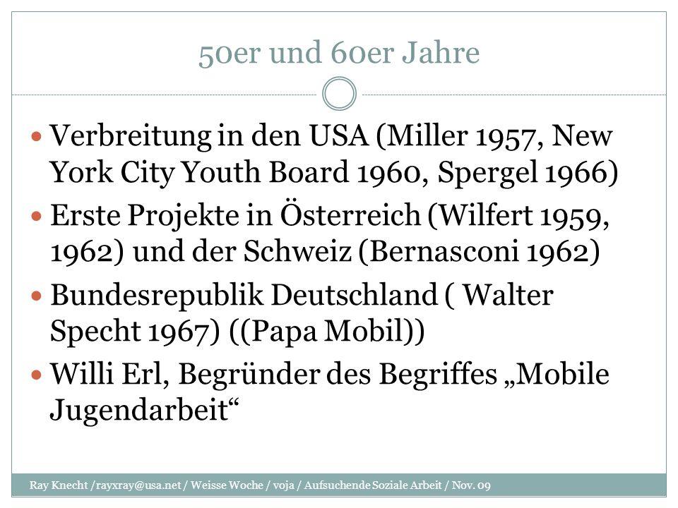 70er, 80er Jahre Gassenarbeit Die Überlebenshilfe wurde das stärkste Standbein der Aufsuchenden Sozialen Arbeit Gassenarbeit entstand in vielen Schweizer Städten MJA wurde Vor allem in unseren Nachbar- Staaten praktiziert.