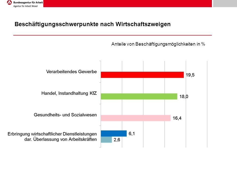 Beschäftigungsschwerpunkte nach Wirtschaftszweigen Anteile von Beschäftigungsmöglichkeiten in %