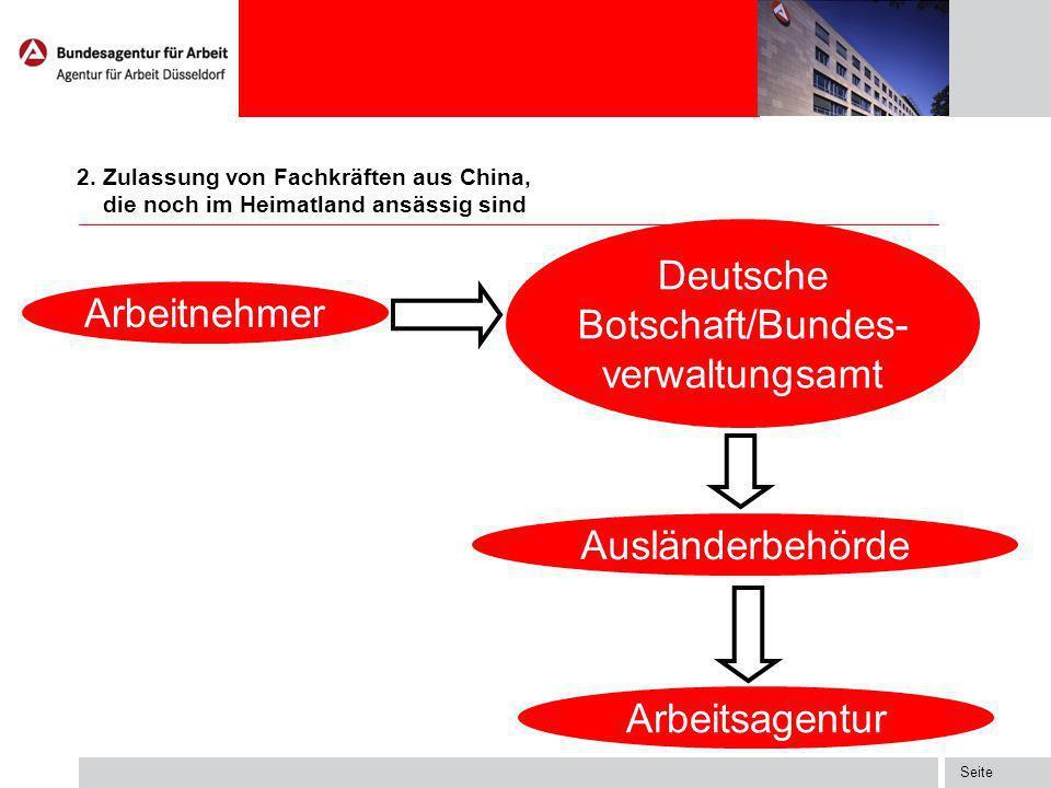 Seite 2. Zulassung von Fachkräften aus China Arbeitsagentur Arbeitnehmer Ausländerbehörde