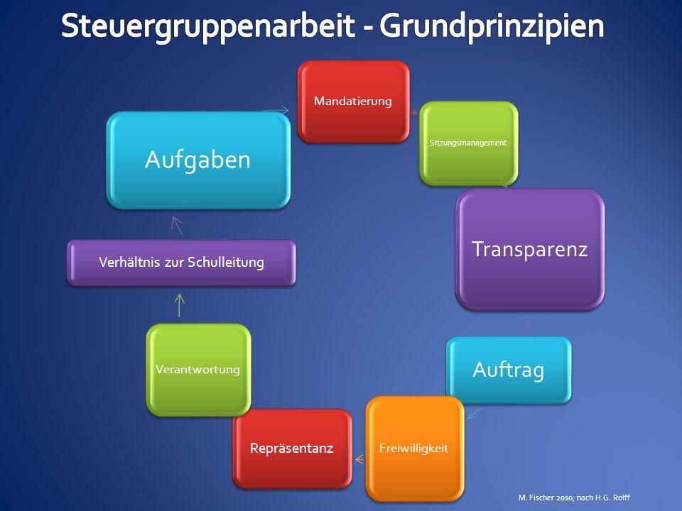 Mandatierung Sitzungsmanagement Transparenz Auftrag Freiwilligkeit Repräsentanz Verantwortung Verhältnis zur Schulleitung Aufgaben M. Fischer 2010, na