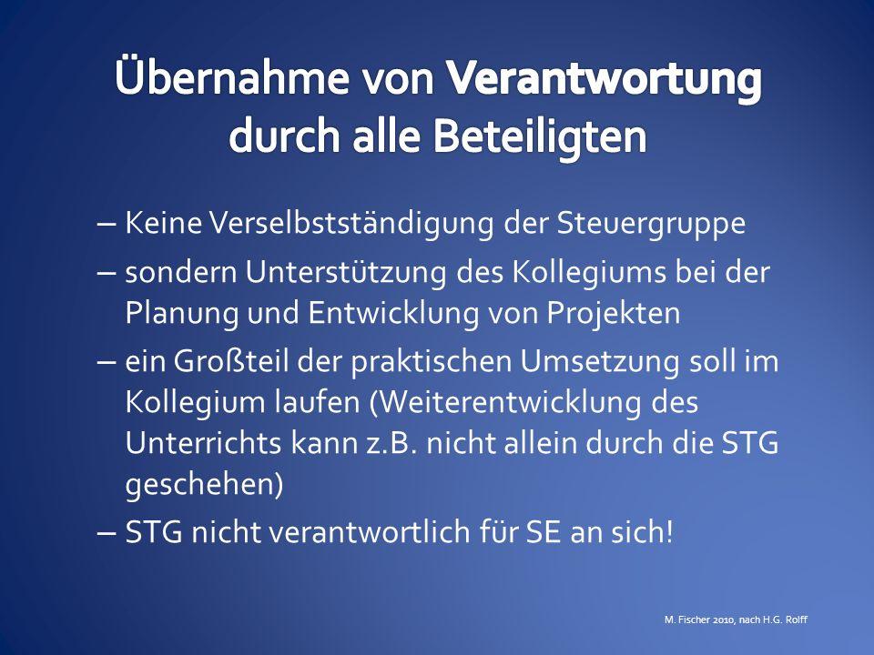 – Keine Verselbstständigung der Steuergruppe – sondern Unterstützung des Kollegiums bei der Planung und Entwicklung von Projekten – ein Großteil der p
