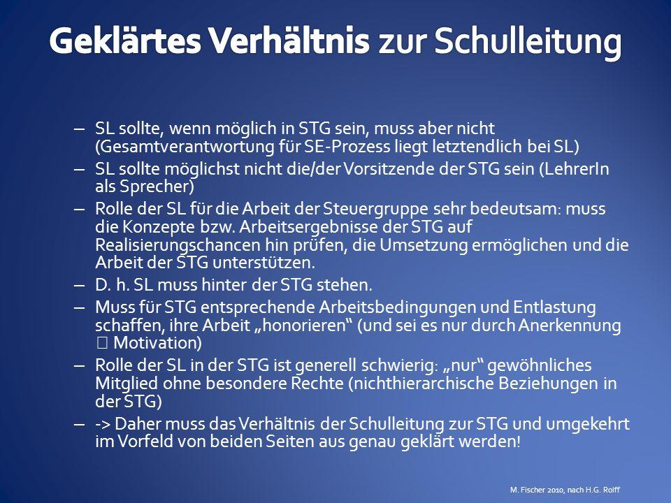 – SL sollte, wenn möglich in STG sein, muss aber nicht (Gesamtverantwortung für SE-Prozess liegt letztendlich bei SL) – SL sollte möglichst nicht die/