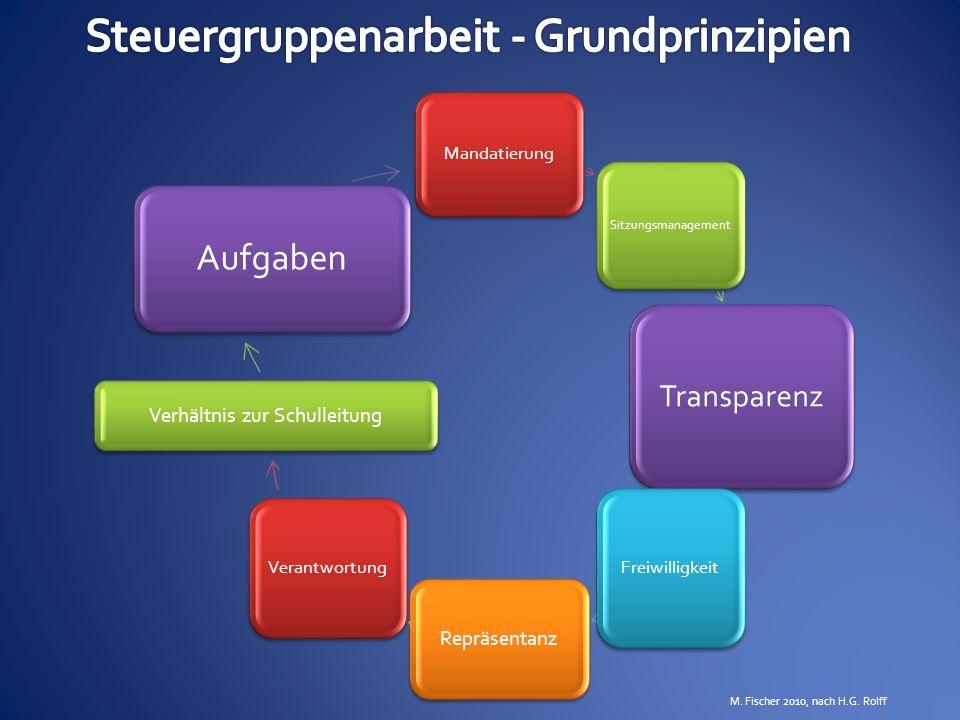 Mandatierung Sitzungsmanagement Transparenz Freiwilligkeit Repräsentanz Verantwortung Verhältnis zur Schulleitung Aufgaben M. Fischer 2010, nach H.G.
