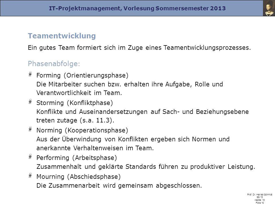 IT-Projektmanagement, Vorlesung Sommersemester 2013 Prof. Dr. Herrad Schmidt SS 13 Kapitel 10 Folie 10 Teamentwicklung Ein gutes Team formiert sich im