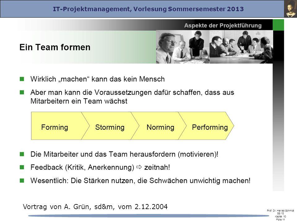 IT-Projektmanagement, Vorlesung Sommersemester 2013 Prof. Dr. Herrad Schmidt SS 13 Kapitel 10 Folie 11 Vortrag von A. Grün, sd&m, vom 2.12.2004