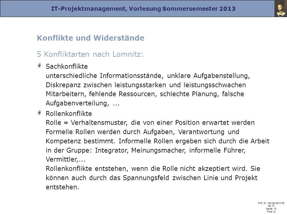 IT-Projektmanagement, Vorlesung Sommersemester 2013 Prof. Dr. Herrad Schmidt SS 13 Kapitel 10 Folie 12 Konflikte und Widerstände 5 Konfliktarten nach