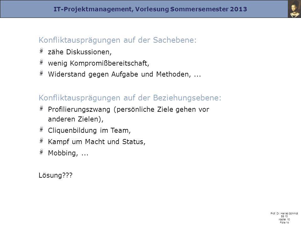IT-Projektmanagement, Vorlesung Sommersemester 2013 Prof. Dr. Herrad Schmidt SS 13 Kapitel 10 Folie 14 Konfliktausprägungen auf der Sachebene: zähe Di