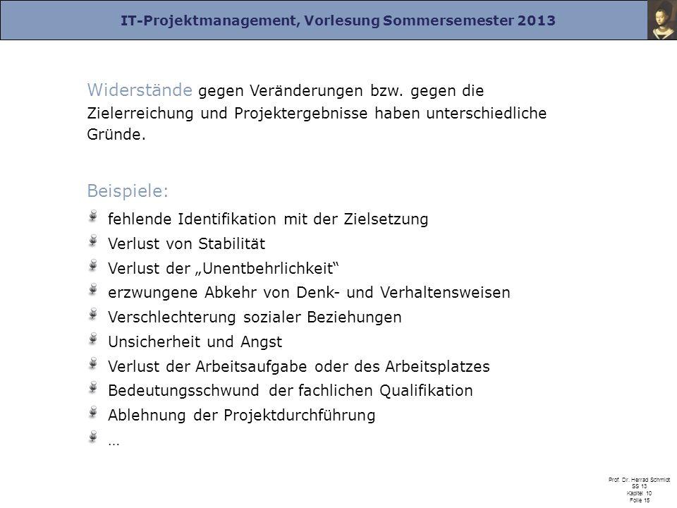 IT-Projektmanagement, Vorlesung Sommersemester 2013 Prof. Dr. Herrad Schmidt SS 13 Kapitel 10 Folie 15 Widerstände gegen Veränderungen bzw. gegen die