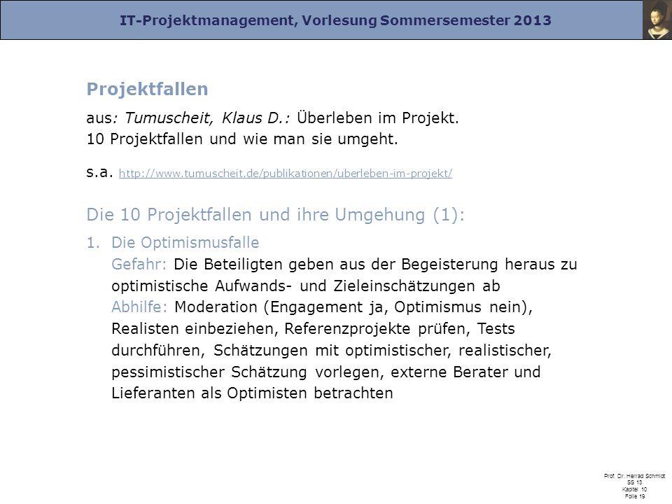 IT-Projektmanagement, Vorlesung Sommersemester 2013 Prof. Dr. Herrad Schmidt SS 13 Kapitel 10 Folie 19 Projektfallen aus: Tumuscheit, Klaus D.: Überle