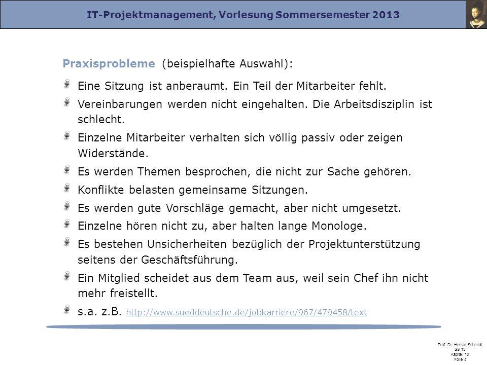 IT-Projektmanagement, Vorlesung Sommersemester 2013 Prof. Dr. Herrad Schmidt SS 13 Kapitel 10 Folie 4 Praxisprobleme (beispielhafte Auswahl): Eine Sit